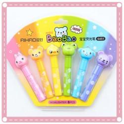 可愛螢光筆6件組 小學生彩色記號筆 兒童塗鴉筆