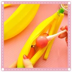 創意可愛矽膠零錢包 香蕉筆袋 學生手拿鉛筆盒