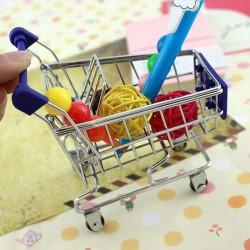 創意鐵藝迷你購物車 超市手推車桌面收納儲物籃 小推車 工藝品