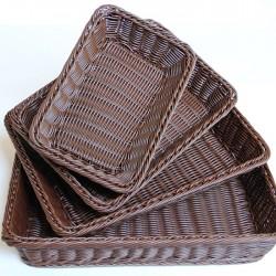 仿藤編麵包籃 水果食品籃 深色長方形竹籃