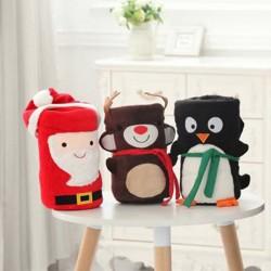 [館長大推]必備小毛毯 超萌聖誕老人麋鹿雪寶造型珊瑚絨小毛毯 寶寶午睡毯 休閑毯 空調毯