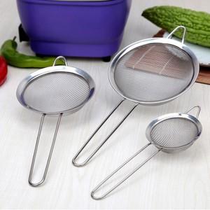 (5入)不鏽鋼手持斜紋密網寬邊麵粉篩 油隔漏勺