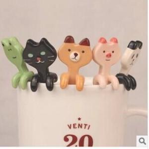可愛動物造型陶瓷湯匙 咖啡攪拌匙 造型小掛匙