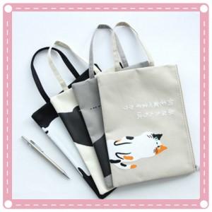 貓咪圖案帆布拉鍊文件袋 A4手提文件袋 試卷收納袋