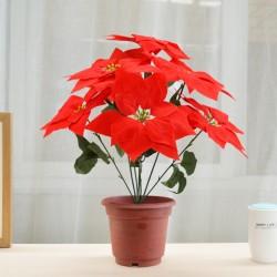仿真絨布聖誕紅盆栽 7朵紅盆栽 聖誕裝飾