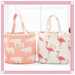 可愛動物布藝拉繩手提便當袋 清新帆布手提袋 保溫保冷袋 收納包 萬用包