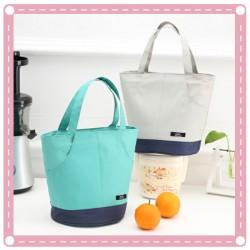 手提拼色保溫便當袋 學生飯盒保溫袋 保溫保冰袋