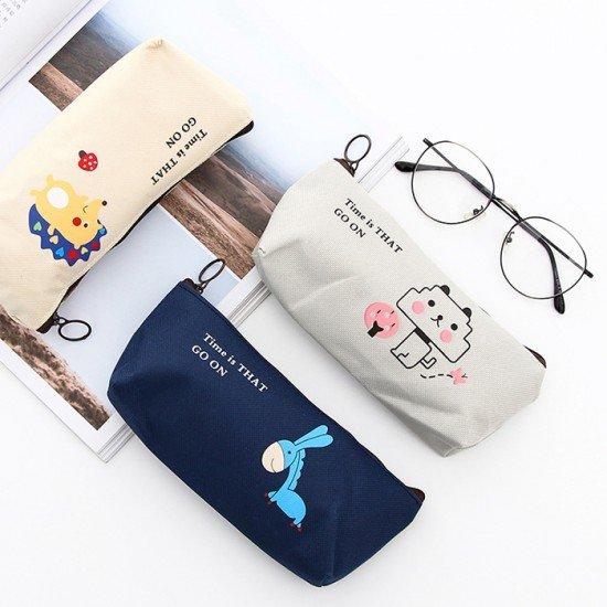 創意可愛簡約動物帆布筆袋 大容量文具袋 鉛筆盒