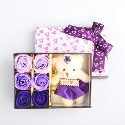 小熊6朵玫瑰香皂花禮盒 玫瑰花 情人節必備 母親節必備 畢業季