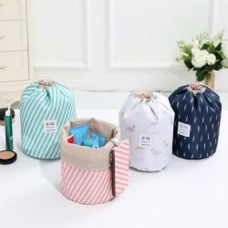 創意牛津布旅行圓筒收納包 花色抽繩化妝包 收納袋 化妝品收納包