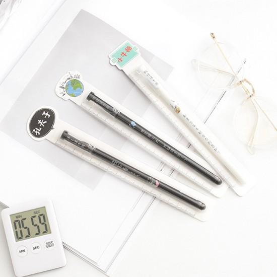創意課堂文字中性筆 0.5mm黑色原子筆 創意針管設計中性筆