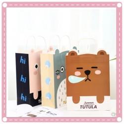 可愛動物圖案手提紙袋 卡通小熊禮品袋 送禮必備小紙袋
