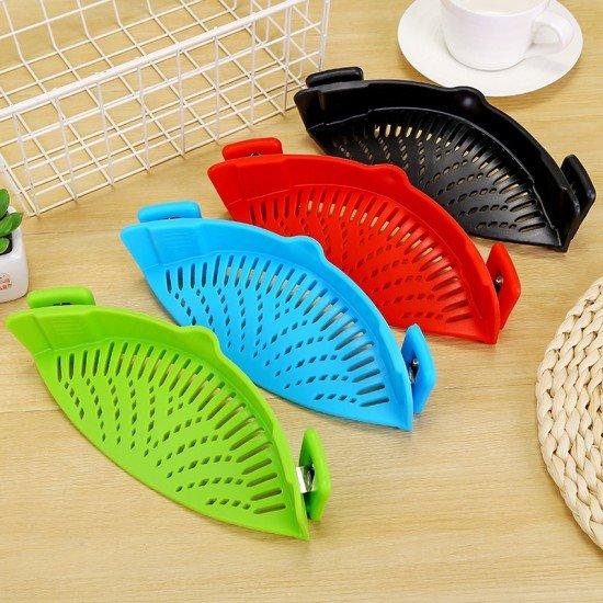 創意矽膠鍋邊瀝水器 廚房必備麵條防漏瀝水器 廚房瀝水器