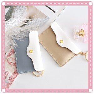 創意可愛少女化妝包 簡約信封造型翻蓋收納包 卡片包 PU卡包