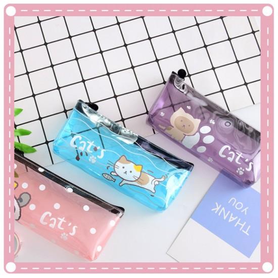 可愛小貓透明筆袋 小清新貓咪文具收納袋 大容量鉛筆盒