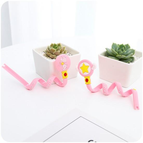 可愛長條粉色少女集線器 耳機收納繞線器 充電線整理收納繞線器