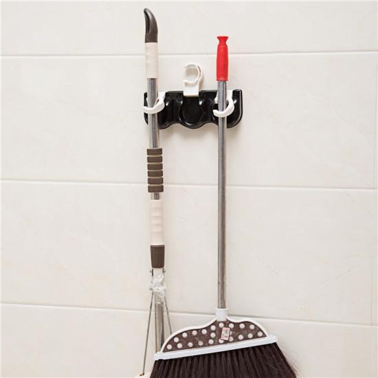 創意多功能收納三連掛勾 雨傘拖把收納架 掃除用品收納掛架 日用品置物架