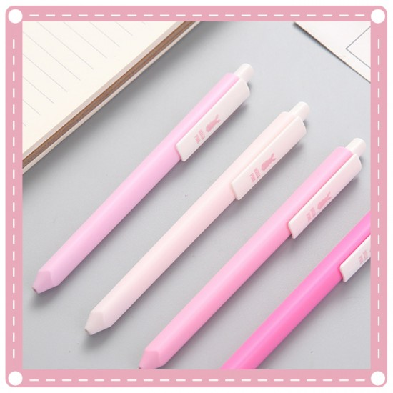 簡約粉色系按壓式中性筆 0.38圓珠筆 黑筆