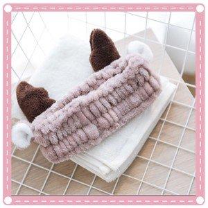可愛鹿角造型洗臉束髮帶 敷面膜必備髮帶 超可愛髮箍 化妝必備 洗澡頭巾