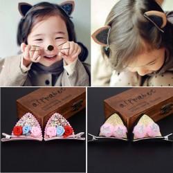 萬聖節必備 雙層立體貓耳朵髮夾 超萌可愛兒童鴨夾 髮飾 頭飾(1對)