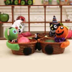 萬聖節必備 派對裝飾手工編織籃 立體娃娃糖果餅乾籃