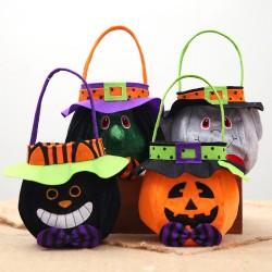 萬聖節必備 手提南瓜造型糖果袋 立體圓形禮物袋 裝飾用品