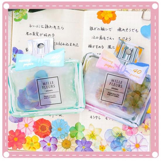 創意蝴蝶結花瓣貼紙 香水瓶造型雛菊花瓣裝飾貼紙 手賬貼紙