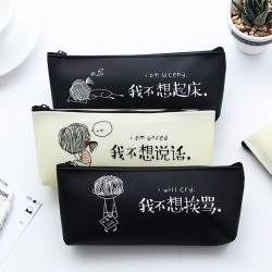 創意搞笑文字筆袋 矽膠鉛筆盒 文具收納袋