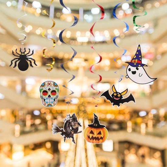 萬聖節必備 派對裝飾圖案吊飾6件組 南瓜女巫造型吊飾