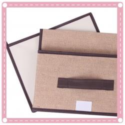 仿棉麻無紡布收納箱2件組 摺疊收納箱 整理箱
