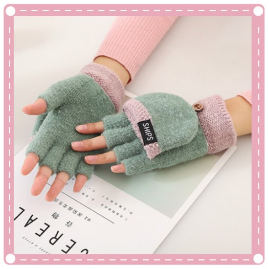 針織翻蓋保暖手套 男女通用露指手套 創意布藝冬季手套