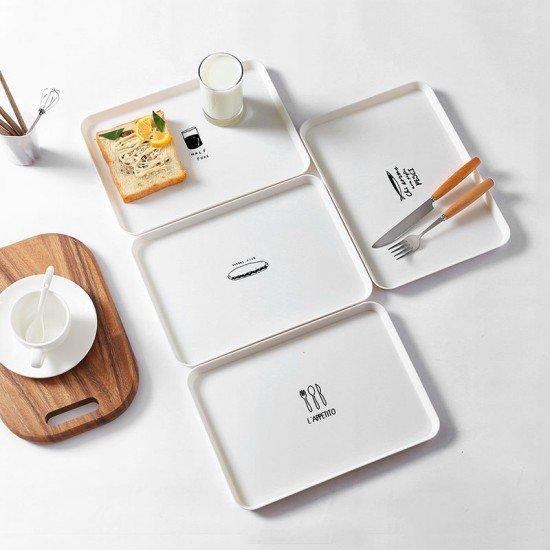 簡約北歐風長方形托盤 創意居家早餐盤 端盤 茶盤 點心托盤