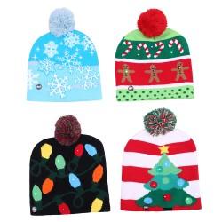 保暖針織LED聖誕帽 可愛聖誕老人雪人針織帽 聖誕節必備