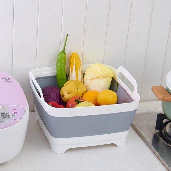 創意可折疊廚房洗菜籃 蔬菜水果瀝水籃 摺疊收納不占空間