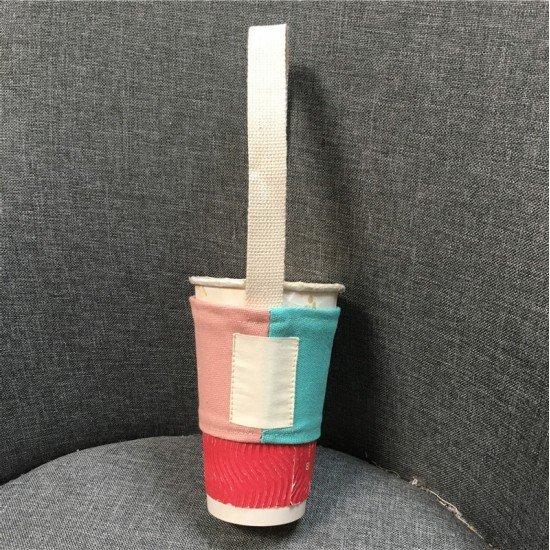 撞色拼接飲料杯袋 環保手搖杯提袋 可摺疊收納杯套