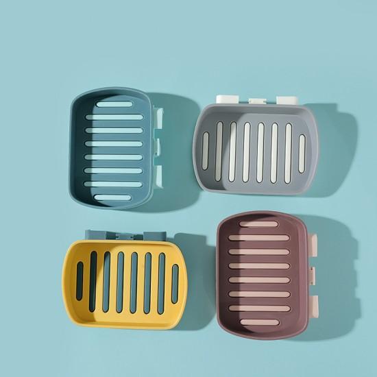 免打孔瀝水肥皂架 撞色雙層 浴室壁掛香皂架