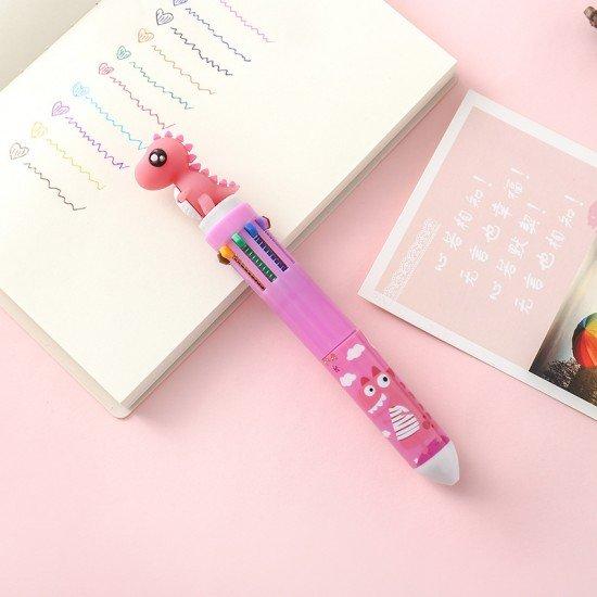 Q版恐龍10色圓珠筆 可愛卡通文具 按壓式子彈頭原子筆
