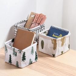 簡約風可折疊收納籃 辦公桌 梳妝臺 文具雜物整理盒 桌面收納盒