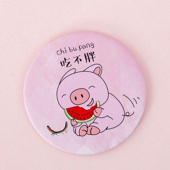 迷你粉色少女小圓鏡 小豬圖案隨身鏡 可愛小圓鏡