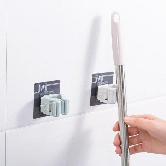 無痕壁掛式拖把掛夾 浴室收納必備掃具掛勾 拖把掃把掛架