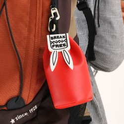 可愛兔子抽繩束口袋 皮質零錢收納袋 迷你小錢包