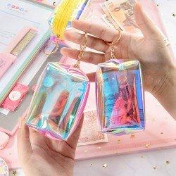 鐳射多功能收納包 少女必備充電線收納袋 方形拉鍊零錢包