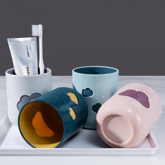 雙色雲朵造型漱口杯 創意家用情侶牙刷杯 居家必備洗漱杯 杯子