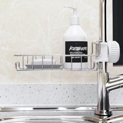 不鏽鋼水龍頭置物架 家用廚房抹布瀝水架 水槽收納架