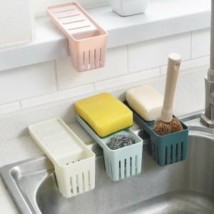 廚房吸盤水槽瀝水架 水槽海綿收納籃 菜瓜布置物籃 置物架 收納架