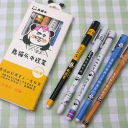 創意熊貓表情中性筆 創意文字黑色原子筆 熊貓頭中性筆 5支裝