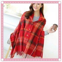 流蘇格子圍巾斗篷 仿羊絨鈕扣披肩 冬季必備造型斗篷 格子圍巾