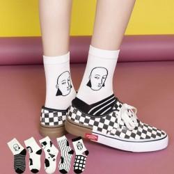 街頭風黑白人頭中筒襪 創意人物時尚潮流襪 秋冬必配襪子