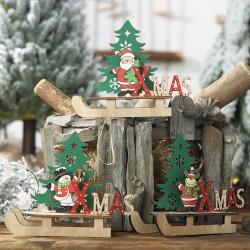DIY木質聖誕雪橇裝飾品 創意聖誕節必備擺設 聖誕老人雪人雪橇裝飾