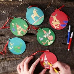 DIY木質聖誕樹吊飾 創意著色木板 聖誕裝飾必備用品 聖誕圓形吊飾 2個裝